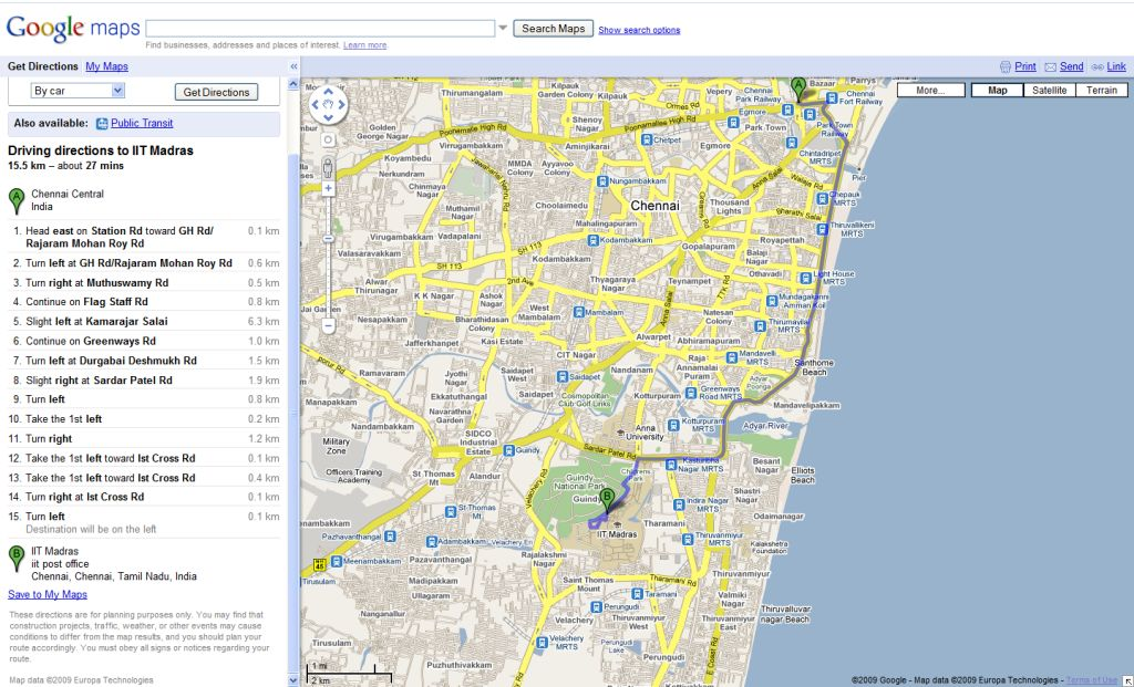 Directions to IIT Madras